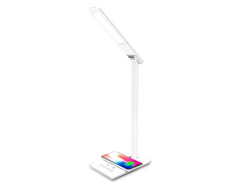 Светодиодная настольная лампа с беспроводной зарядкой и USB портом DE581 WH белый LED 2700-6400K 6W