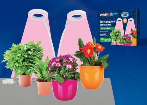 ULT-P35-15W/SPLE/TM IP40 WHITE Светильник для растений светодиодный с таймером, на прищепке. Спектр для фотосинтеза. TM Uniel