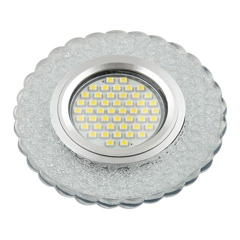 DLS-L140 GU5.3 GLASSY/CLEAR Светильник декоративный встраиваемый, серия Luciole. Без лампы, цоколь GU5.3. Доп. светодиодная подсветка 3Вт. Стекло. Зеркальный/прозрачный. ТМ Fametto