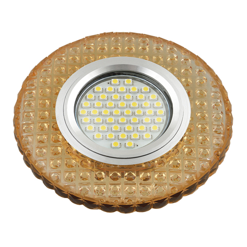 DLS-L143 GU5.3 GLASSY/GOLD Светильник декоративный встраиваемый, серия Luciole. Без лампы, цоколь GU5.3. Доп. светодиодная подсветка 3Вт. Стекло. Зеркальный/светло-желтый. ТМ Fametto