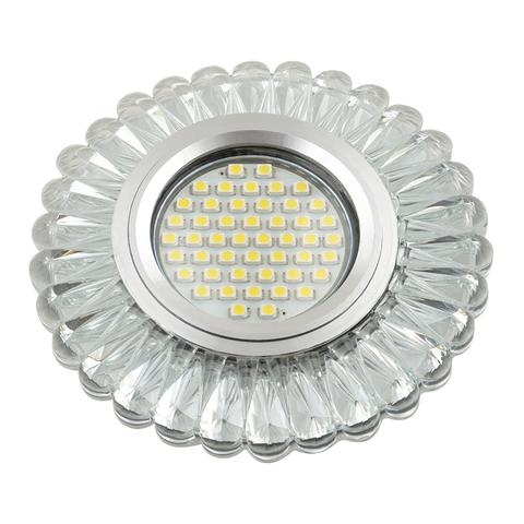 DLS-L145 GU5.3 GLASSY/CLEAR Светильник декоративный встраиваемый, серия Luciole. Без лампы, цоколь GU5.3. Доп. светодиодная подсветка 3Вт. Стекло. Зеркальный/прозрачный. ТМ Fametto