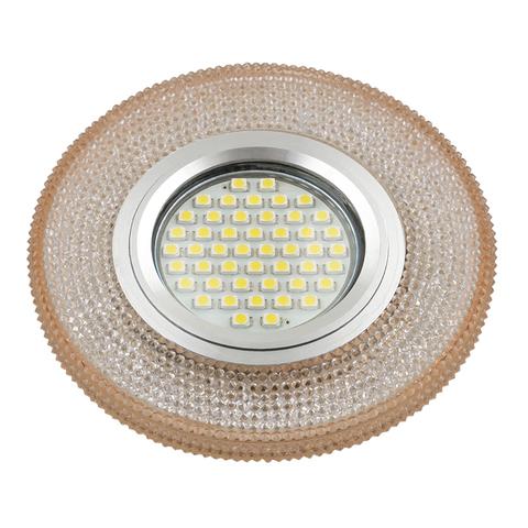 DLS-L142 GU5.3 GLASSY/LIGHT TEA Светильник декоративный встраиваемый, серия Luciole. Без лампы, цоколь GU5.3. Доп. светодиодная подсветка 3Вт. Стекло. Зеркальный/светло-коричневый. ТМ Fametto
