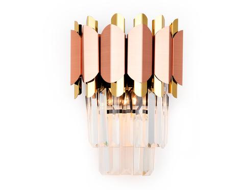 Настенный светильник с хрусталем TR5294/2 PGD/GD розовое золото/золото E14/2 max 40W 320*250*140