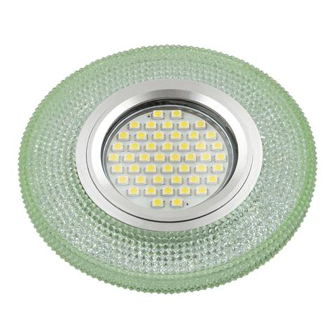 DLS-L142 GU5.3 GLASSY/GREEN Светильник декоративный встраиваемый, серия Luciole. Без лампы, цоколь GU5.3. Доп. светодиодная подсветка 3Вт.Стекло. Зеркальный/светло-зеленый. ТМ Fametto