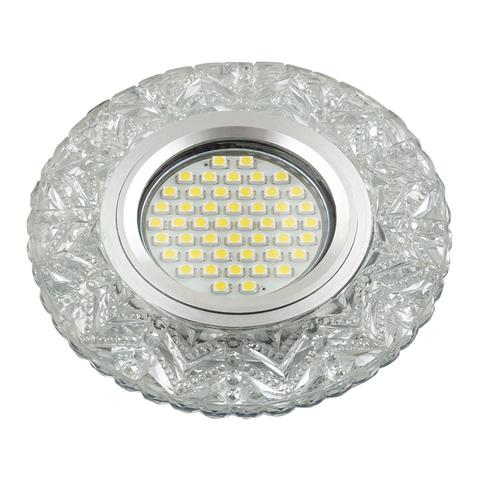 DLS-L146 GU5.3 GLASSY/CLEAR Светильник декоративный встраиваемый, серия Luciole. Без лампы, цоколь GU5.3. Доп. светодиодная подсветка 3Вт. Стекло. Зеркальный/прозрачный. ТМ Fametto