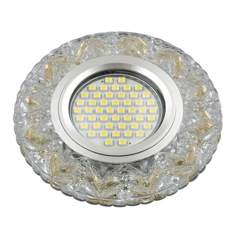 DLS-L146 GU5.3 GLASSY/GOLD Светильник декоративный встраиваемый, серия Luciole. Без лампы, цоколь GU5.3. Доп. светодиодная подсветка 3Вт. Стекло. Зеркальный/прозрачный+светло-желтый. ТМ Fametto