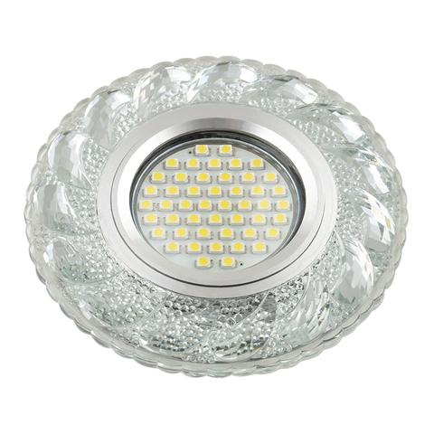DLS-L147 GU5.3 GLASSY/CLEAR Светильник декоративный встраиваемый, серия Luciole. Без лампы, цоколь GU5.3. Доп. светодиодная подсветка 3Вт. Стекло. Зеркальный/прозрачный. ТМ Fametto