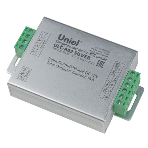 ULC-A02 SILVER Контроллер-повторитель RGB сигнала, для светодиодных лент. 6Ах3канала, 216Вт(12В)/432Вт(24В). TM Uniel