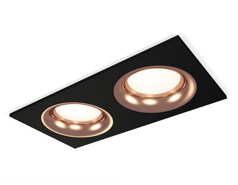 Комплект встраиваемого светильника XC7636006 SBK/PPG черный песок/золото розовое полированное MR16 GU5.3 (C7636, N7015)
