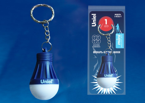 S-KL023-T BLUE Фонарь-брелок «Uniel», серии Стандарт. 1LED. 4*LR41 в/к. Пластик. Синий. ТМ Uniel.