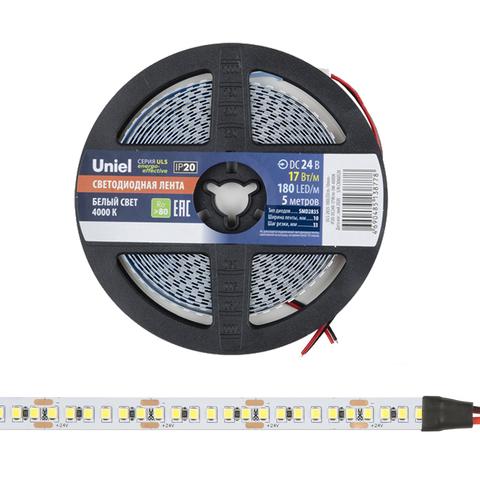 ULS-2835-180LED/m-10mm-IP20-DC24V-17W/m-5M-4000K Гибкая светодиодная лента на самоклеящейся основе. Катушка 5м. в герметичной упаковке. Белый свет(4000К). ТМ Uniel