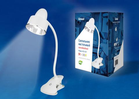 TLD-557 Beige/LED/350Lm/5500K/Dimmer Светильник настольный «прищепка», 5W. Сенсорный выключатель. Белый. ТМ Uniel