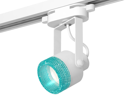 Комплект трекового однофазного светильникас композитным хрусталем XT6601063 WH/BL белый/голубой MR16 GU10 (C6601, N6153)