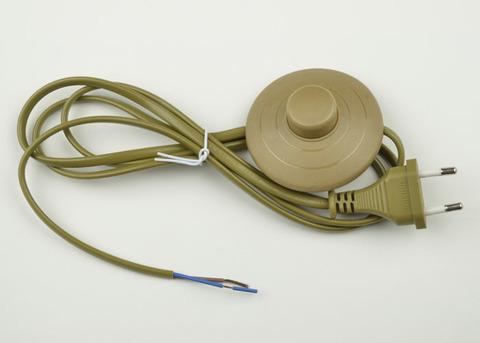 UCX-C20/02A-170 BROWN Сетевой шнур с вилкой и выключателем (напольный). 2А, 500Вт, 1,7м. Коричневый. ТМ Uniel