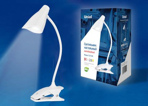 TLD-560 White/LED/280Lm/5000K/Dimmer Светильник настольный «прищепка», 3W. Сенсорный выключатель. Белый. ТМ Uniel