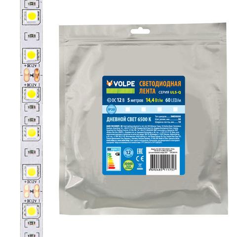 ULS-Q221 5050-60LED/m-10mm-IP20-DC12V-14,4W/m-5M-3000K Гибкая светодиодная лента на самоклеящейся основе. Катушка 5 м. в герметичной упаковке. Теплый белый свет(3000K). ТМ Volpe.