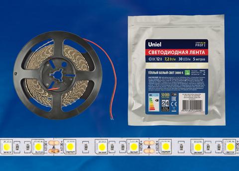 ULS-M22-5050-30LED/m-10mm-IP20-DC12V-7,2W/m-5M-3000K PROFI Гибкая светодиодная лента на самоклеящейся основе. Катушка 5м. в герметичной упаковке. Теплый белый свет(3000К). ТМ Uniel.