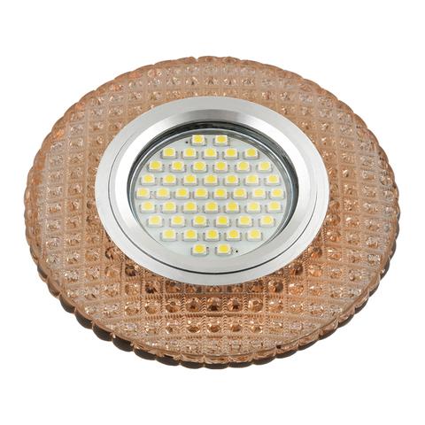 DLS-L135 GU5.3 GLASSY/LIGHT TEA Светильник декоративный встраиваемый, серия Luciole. Без лампы, цоколь GU5.3. Доп. светодиодная подсветка 3Вт. Стекло. Зеркальный/светло-коричневый. ТМ Fametto