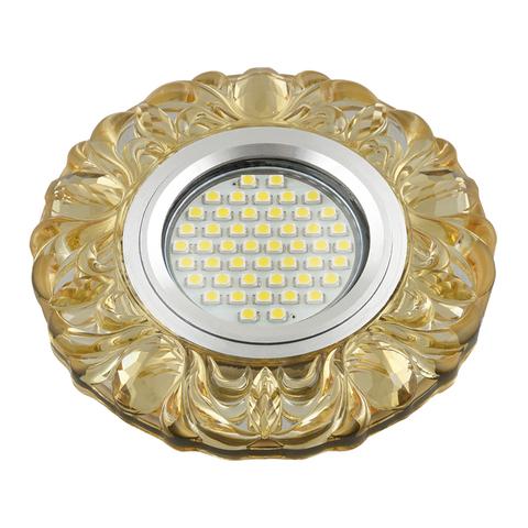 DLS-L136 GU5.3 GLASSY/YELLOW Светильник декоративный встраиваемый, серия Luciole. Без лампы, цоколь GU5.3. Доп. светодиодная подсветка 3Вт.Стекло. Зеркальный/светло-желтый. ТМ Fametto