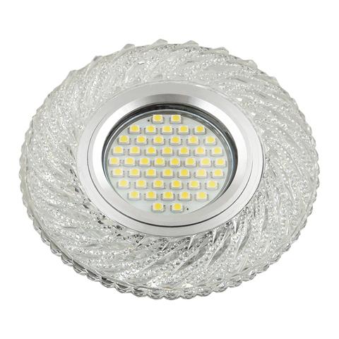 DLS-L137 GU5.3 GLASSY/CLEAR Светильник декоративный встраиваемый, серия Luciole. Без лампы, цоколь GU5.3. Доп. светодиодная подсветка 3Вт. Стекло. Зеркальный/прозрачный. ТМ Fametto