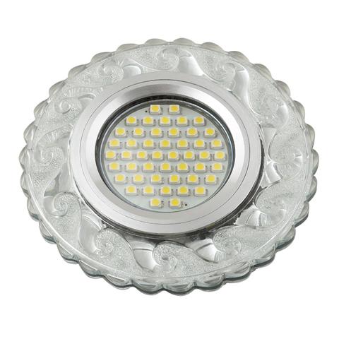 DLS-L139 GU5.3 GLASSY/CLEAR Светильник декоративный встраиваемый, серия Luciole. Без лампы, цоколь GU5.3. Доп. светодиодная подсветка 3Вт. Стекло. Зеркальный/прозрачный. ТМ Fametto