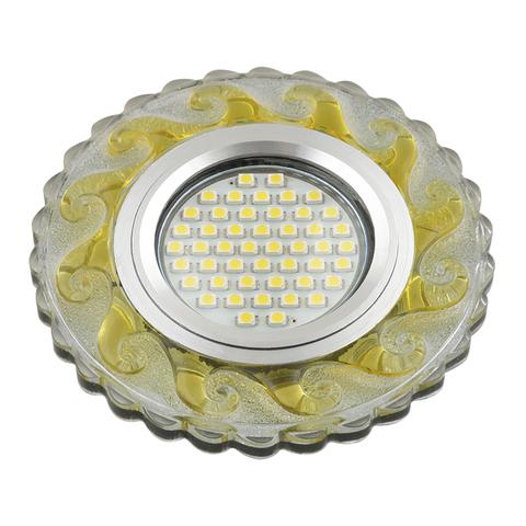 DLS-L139 GU5.3 GLASSY/GOLD Светильник декоративный встраиваемый, серия Luciole. Без лампы, GU5.3. Доп. светодиодная подсветка 3Вт. Стекло. Зеркальный/прозрачный+светло-желтый. ТМ Fametto