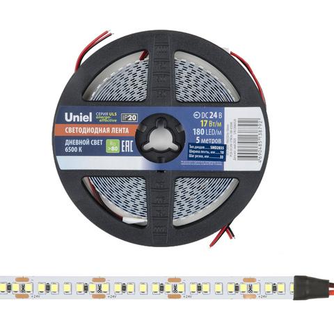 ULS-2835-180LED/m-10mm-IP20-DC24V-17W/m-5M-6500K Гибкая светодиодная лента на самоклеящейся основе. Катушка 5м. в герметичной упаковке. Дневной свет (6500K). ТМ Uniel