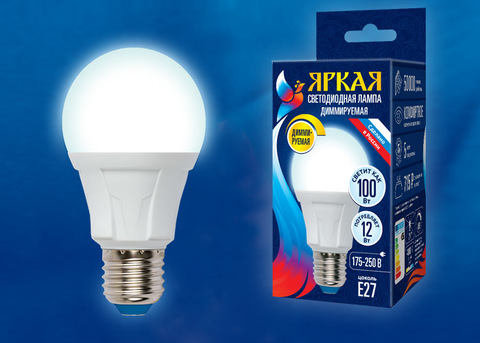 LED-A60 12W/4000K/E27/FR/DIM PLP01WH Лампа светодиодная, диммируемая. Форма «А», матовая. Серия Яркая. Белый свет (4000К). Картон. ТМ Uniel.