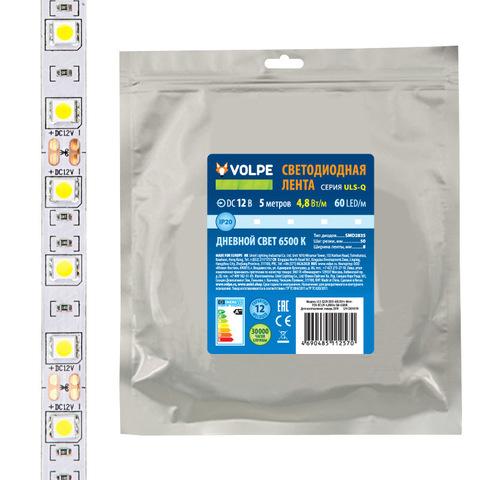 ULS-Q320 2835-60LED/m-8mm-IP20-DC12V-4,8W/m-5M-6500K Гибкая светодиодная лента на самоклеящейся основе. Катушка 5 м. в герметичной упаковке. Дневной свет(6500K). ТМ Volpe.