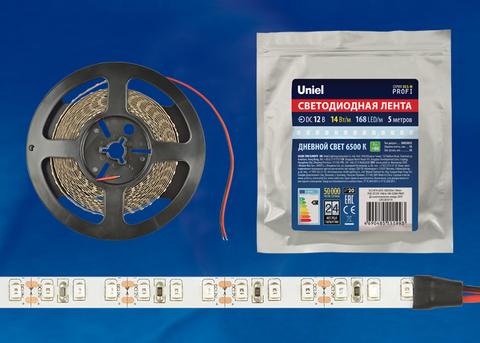 ULS-M14-2835-168LED/m-10mm-IP20-DC12V-14W/m-5M-6500K PROFI катушка в герметичной упаковке