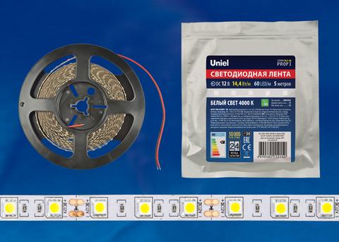 ULS-M25-5050-60LED/m-10mm-IP20-DC12V-14,4W/m-5M-4000K PROFI Гибкая светодиодная лента на самоклеящейся основе. Катушка 5м. в герметичной упаковке. Белый свет(4000К). ТМ Uniel.
