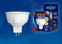 LED-JCDR 6W/WW/GU5.3/FR/DIM PLP01WH Лампа светодиодная, диммируемая. Форма «JCDR», матовая. Серия ЯРКАЯ. Теплый белый свет (3000K). Картон. ТМ Uniel