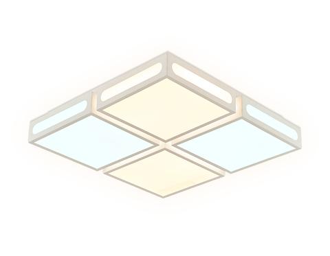 Потолочный светодиодный светильник с пультом FS1889 WH/SL белый/серебро 96W 500*500*100 (ПДУ РАДИО 2.4)