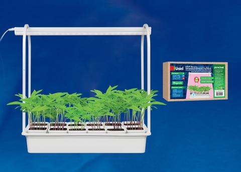 ULT-P34-10W/SPLE IP40 WHITE 12 Набор «Минисад», светильник для растений светодиодный с подставкой. Спектр для фотосинтеза. 12 кашпо в/к, белые. TM Uniel.