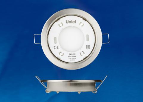 GX53/H2 NICKEL 10 PROM Светильник ультратонкий встраиваемый. В составе набора из 10шт. Корпус никель. Картон. TM Uniel.