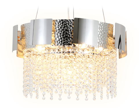 Подвесная хрустальная люстра TR5244/7 SL/CL серебро/прозрачный E14/7 max 40W D500*630
