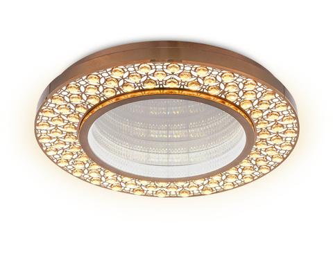 Потолочный светодиодный светильник с пультом FA9449 CF/TI кофе/янтарь 132W D600*85 (ПДУ РАДИО 2.4)