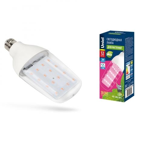 LED-B82-12W/SPBR/E27/CL PLP33WH Лампа светодиодная для растений. Форма «DOUBLESIDE», прозрачная. Спектр для рассады и досвечивания в период роста. Картон. ТМ Uniel