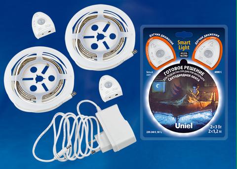 ULS-R02-6W/4000K/1,2Mx2/DIM SENSOR Smart Light Комплект светодиодной ленты на самоклеящейся основе, 2шт.х1,2м, IP65. Белый свет(4000К). Адаптер 12Вт, IP20, в/к. ТМ Uniel.