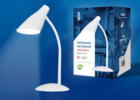 TLD-562 White/LED/360Lm/4500K/Dimmer Светильник настольный, 5W. Сенсорный выключатель. Белый. ТМ Uniel