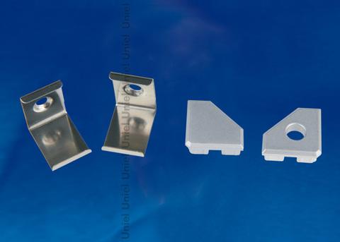 UFE-N13 SILVER A POLYBAG Набор аксессуаров для алюминиевого профиля. Крепежные скобы (4 шт., сталь) и заглушки (4 шт., пластик). Цвет серебро. ТМ Uniel.