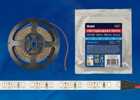 ULS-M11-2835-60LED/m-8mm-IP20-DC12V-4,8W/m-5M-BLUE PROFI Гибкая светодиодная лента на самоклеящейся основе. Катушка 5м. в герметичной упаковке. Синий свет. ТМ Uniel.