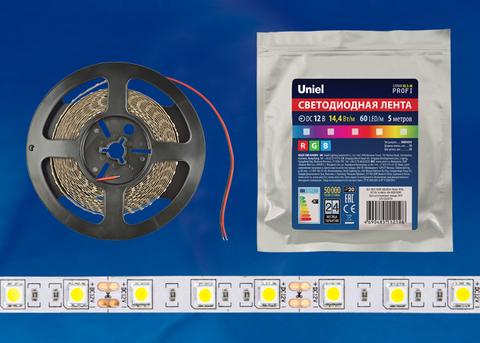 ULS-M22-5050-30LED/m-10mm-IP20-DC12V-7,2W/m-5M-RGB PROFI Гибкая светодиодная лента на самоклеящейся основе. Катушка 5м. в герметичной упаковке. RGB. ТМ Uniel.