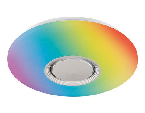 Музыкальный светодиодный светильник FF201 WH/CH белый 72W D495*85 (ПДУ ИК)