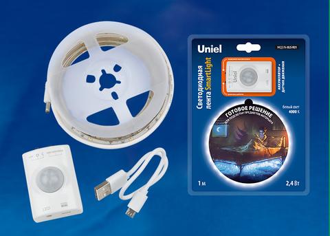 ULS-R21-2,4W/4000K/1,0M/RECH SENSOR Smart Light Комплект светодиодной ленты на самоклеящейся основе, 1м, IP65. Белый свет(4000К). Аккумулятор Li-Ion 1100 мАч, в/к. ТМ Uniel.