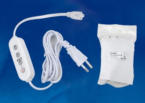 UST-E33 WHITE 2M Таймер с вилкой и разъемом L,N,G для фито светильника, 220В. 150Вт. Провод 2 метра. ТМ Uniel
