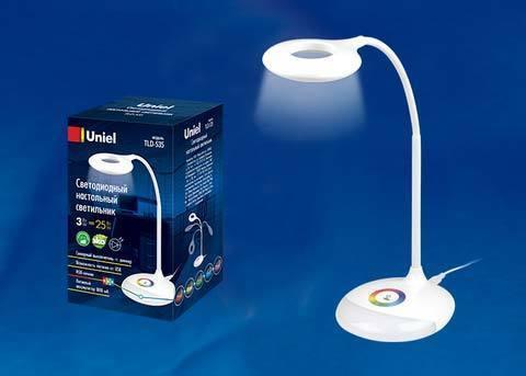 TLD-535 White/LED/250Lm/5500K/Dimmer Светильник настольный с ночником RGB, 4W. Встроенный аккумулятор 1800mAh. Сенсорный выключатель. Белый. TM Uniel.
