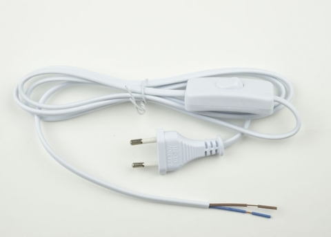 UCX-C10/02A-170 WHITE Сетевой шнур с вилкой и выключателем. 2А, 500Вт, 1,7м. Белый. ТМ Uniel
