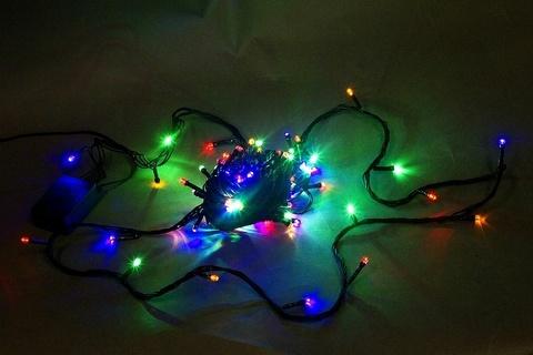 A-001A LED MIX гирлянда светодиодная 10м 100LED с контроллером, зеленый провод