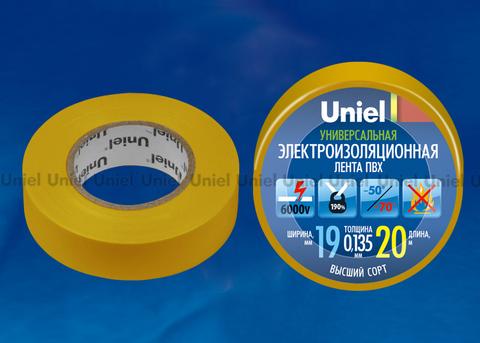 UIT-135P 20/19/01 YEL Изоляционная лента Uniel 20м, 19мм, 0,135мм, 1шт, цвет Желтый